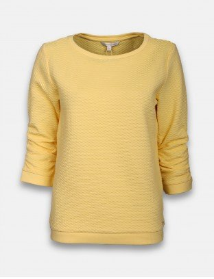 TOM TAILOR BLUZA STRUCTURED SWEAT, HONEY POPCORN