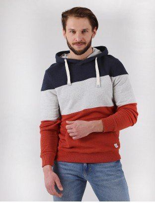 Tom Tailor bluza hoodie with colourblocking stripes