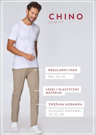 CROSS SPODNIE CHINO SLIM